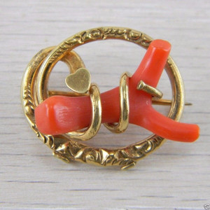 Vermeil Gold over Silver Red Coral Victorian Antique Vintage Pin Brooch