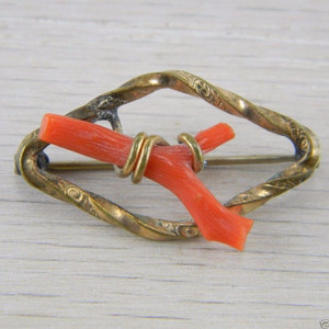 Vermeil Gold over Silver Red Coral Victorian Antique Estate Pin Brooch