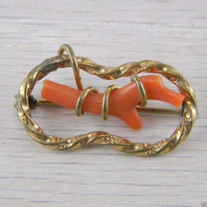 10K Yellow Gold Red Coral Victorian Antique Vintage Estate Pin Brooch