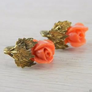 Gilt Red White Italian Coral Floral Flower Rose Screw-back Earrings