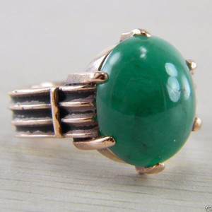 10K Rose Gold Oval Cabochon Cut Emerald Solitaire Victorian Era Ring