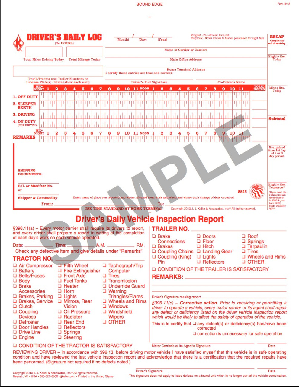 Driver Daily Log   DVIR — Daily Vehicle Inspection Report   D.O.T. ...