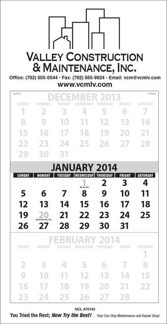 3 month at a glance calendar