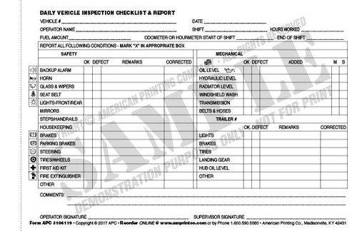 Daily Vehicle Checklist – Vehicle Inspection Checklist Template
