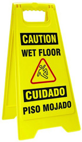 Bilingual Wet Floor Fold-Ups Sign