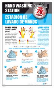 LT10017 - Bilingual, Laminated Hand Washing Instructional Poster