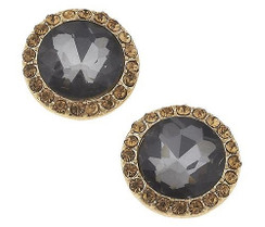 Black Diamond and Gold Rhinestone Round Stud Earrings by Jane Marie Jewelry