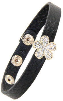 Leather Snap Bracelet with Rhinestone flower gold Slide