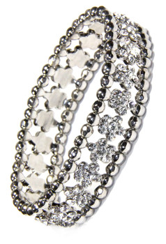 Crystal Flower and Silver Bead Stretchy Bracelet and sold by 2 Lisas Boutique