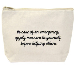 In Case Of an Emergency Apply Mascara to Yourself Before Helping Others Canvas Bag by Jules and sold exclusively at 2 Lisas Boutique