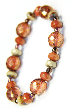 Mixed Rose and Copper Czech Glass Stretchy Bracelet