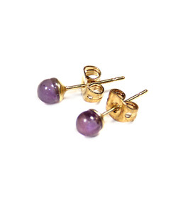 Small Genuine Amethyst Earrings With Gold Filled Stud Post 4mm from 2 Lisas Boutique