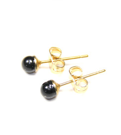 Small Genuine Black Onyx Earrings With Gold Filled Stud Post 4mm