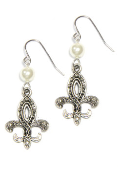 Silver Fleur De Lis with Ivory Pearl Drop Earrings and sold by 2 Lisas Boutique