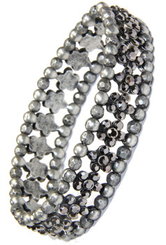Black Diamond Crystal Flower and Silver Bead Stretchy Bracelet and sold by 2 Lisas Boutique