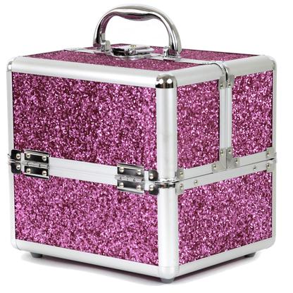 Pink sparkle makeup case
