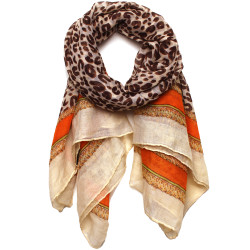 Aria Leopard Print and Gold Chain Link Scarf In Orange/Green