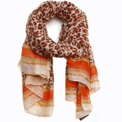 Aria Leopard Print and Gold Chain Link Scarf In Orange/Pink