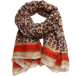 Aria Leopard Print and Gold Chain Link Scarf In Red/Green