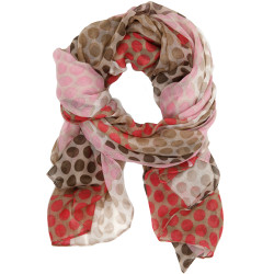 60s Mod Inspired Polka-Dot Patchwork Scarf In Pink/Brown
