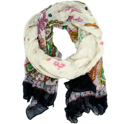White Beige Paisley Floral Scarf