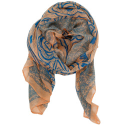 Paisley Scarf In Salmon and Blue