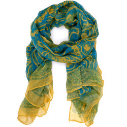 Paisley Scarf In Teal and Yellow