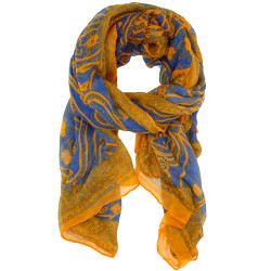 Paisley Scarf In Orange and Blue