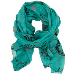 Zebra Animal Print & Heart Graphic Print Scarf In Aqua