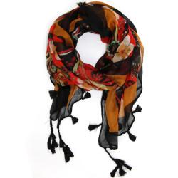 Psychedelic 60s 70s Fringle Tassel Scarf | Brown Red Scarves | Bucasi SF106BRN | Main