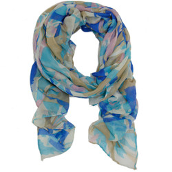 Horse Inspired Print Scarf In Blue