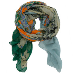 Floral Stars Skull and Bones Scarf In Green