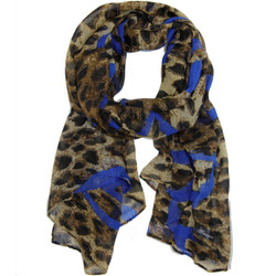 Leopard Print and Blue Heart Print Scarf