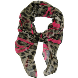Leopard Print and Pink Heart Print Scarf