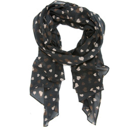 Heart Print Scarf In Black