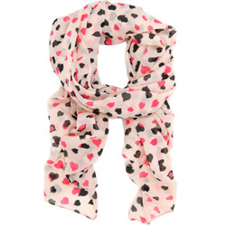 Heart Print Scarf In Pink