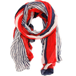 Nautical Red White & Blue Stripe Scarf