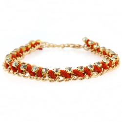 Jenny Gold Chain Bracelet In Orange