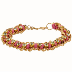 Jenny Gold Chain Bracelet In Pink