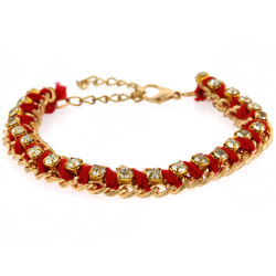 Jenny Gold Chain Bracelet In Red
