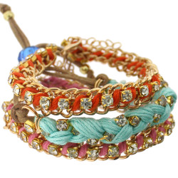 Jenny Bracelet Set In Red and Aqua