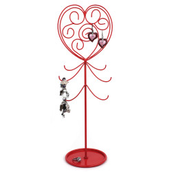 Rosy Red Heart Jewelry Stand