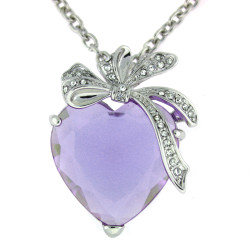 Kate Heart & Bow Necklace In Lilac