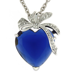 Kate Heart & Bow Necklace In Blue