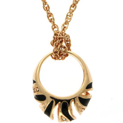 Crystal Adorned Ring Necklace with Removable Ring In Gold