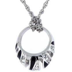 Crystal Adorned Ring Necklace with Removable Ring In Silver