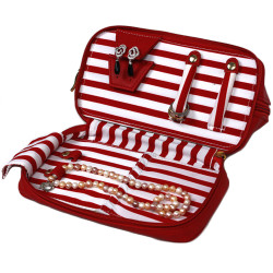 Bucasi Weekender in Red Stripe | Travel Jewelry Organizer | TS13335 | Open