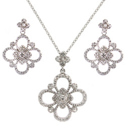 Sterling Silver Necklace Earring 2-Piece Delicate Flower Pendant