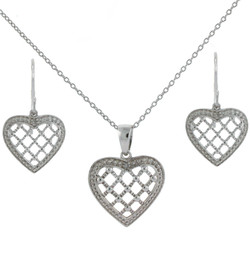 Sterling Silver Heart Jewelry Set