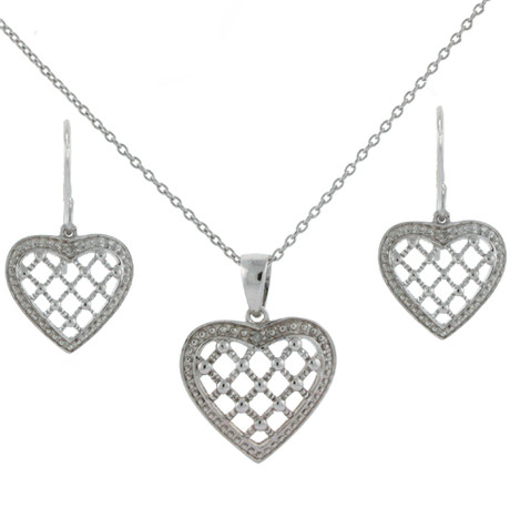 Sterling Silver Heart Jewelry Set